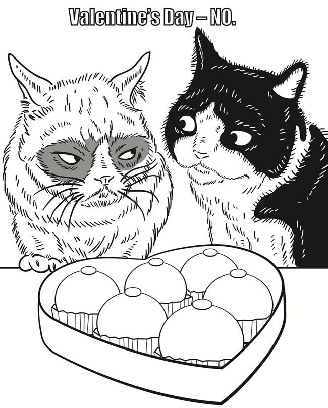 cat coloring pages for adults printable - from grumpy cat coloring book must love cats