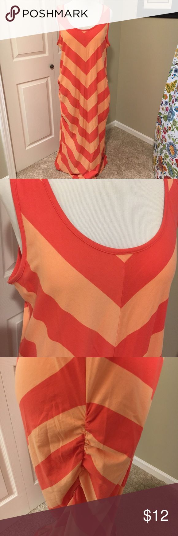 Cute Old Navy tank maxi dress with side details Cute chevron stripe in tangerine and coral. Easy to wear knit tank maxi with side ruching on both sides for additional styling Old Navy Dresses Maxi