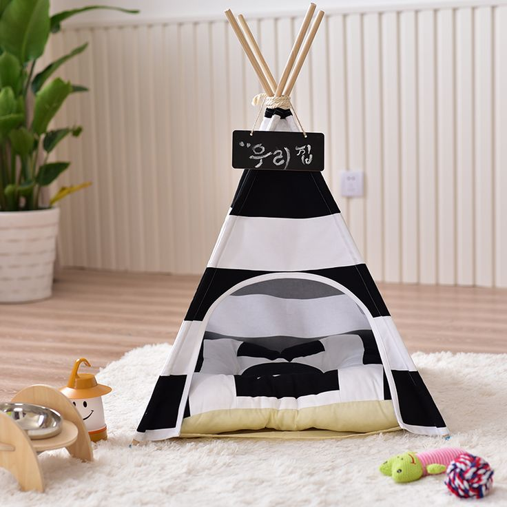 New Design Pet Tent Dog House Pet House Tent Wooden Kennel Canvas Puppy Love Dog Cat Bed House with Mat