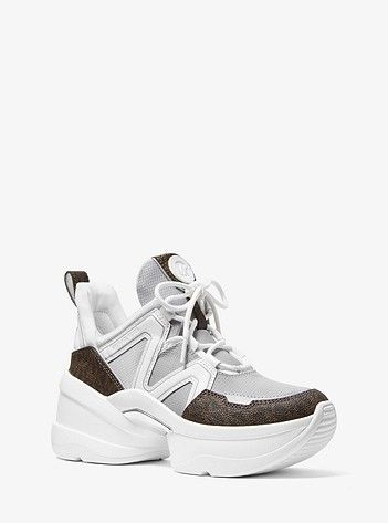 3da8933f4 Olympia Nylon and Logo Trainer | 2018 in 2019 | Adidas sneakers, Michael  kors sneakers, Handbags michael kors