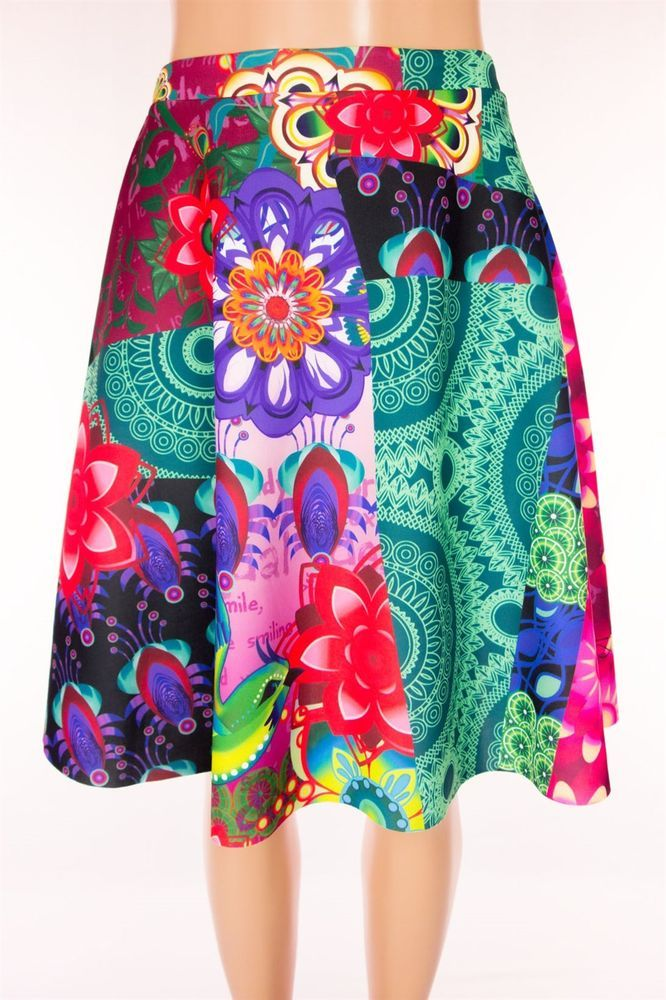 DESIGUAL New Skirt Size L Large Bold Multi Color Mini Pull Up Bird Floral NWT #Desigual #FullSkirt
