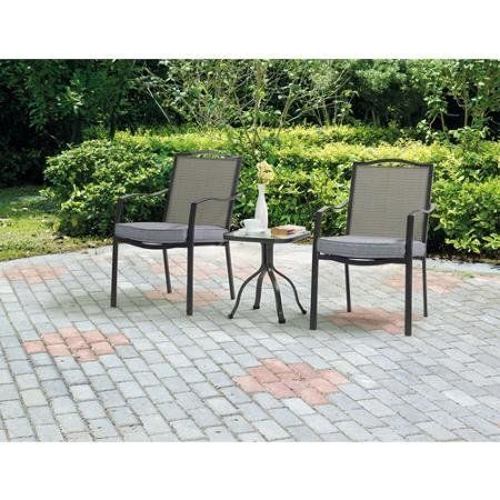"Mainstays Tempered-Glass Table Top Oakmont Meadows 3-Piece Bistro Set. Durable, powder-coated steel frames 100% outdoor printed fabric (filling material: 100% polyester) for the cushion Sling back for more comfort Tempered-glass table top. Removable cushion Outdoor bistro set is easy to assemble; instructions included inside box Cool, comfortable, ventilated seating Weight limit: 250 lbs per seat. Chair dimensions: 26""L x 21.28""W x 34.28""H Table dimensions: 15.96""L x 15.96""W x 17.53""H…"