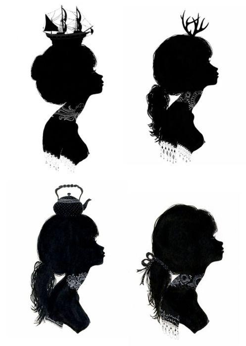 Inspiration crafty mama pinterest illustration och for Female silhouette tattoo