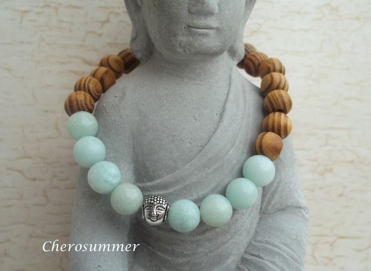Buddha Armband Wurzelholz Amazonit von CheroSummer auf Etsy