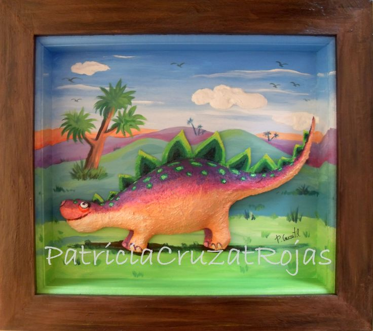 Cuadro con profundidad dinosaurio en papel mache 45x40cm - Marcos con profundidad ...