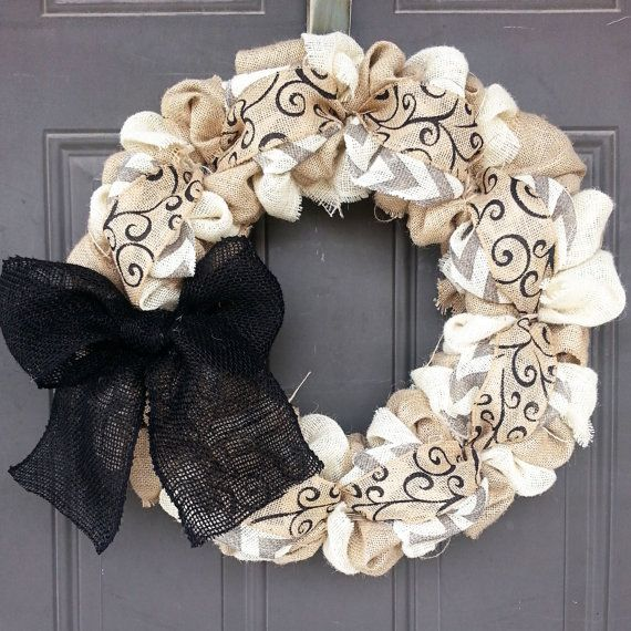 Burlap Wreath - Natural, Cream, Black, and White/Gray Chevron Home Decor Front Door Wreath Spring Wreath - Everyday Wreath