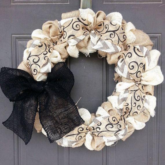 Burlap Wreath - Natural, Cream, Black, and White/Gray Chevron Home Decor Front Door Wreath Spring Wreath - Everyday Wreath