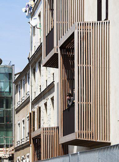 Timber Clad / Framed Balconies Social Housing + Artist Studios Paris / France / 2010 Moussafir Architectes Associés