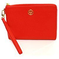 Ladies Tory Burch Large Wristlet Masaai in bright #Red with #Gold detail. Stunning #Gift idea for her   #Ad