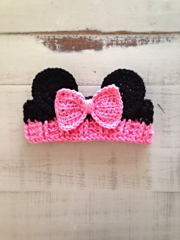 Crochet Girl Minnie Mouse Ear Warmer, Pink Headband, Minnie Ear Warmer, Minnie Mouse, Minnie Baby, Toddler, Child, Adult, MADE TO ORDER! by NewYarnCreations on Etsy