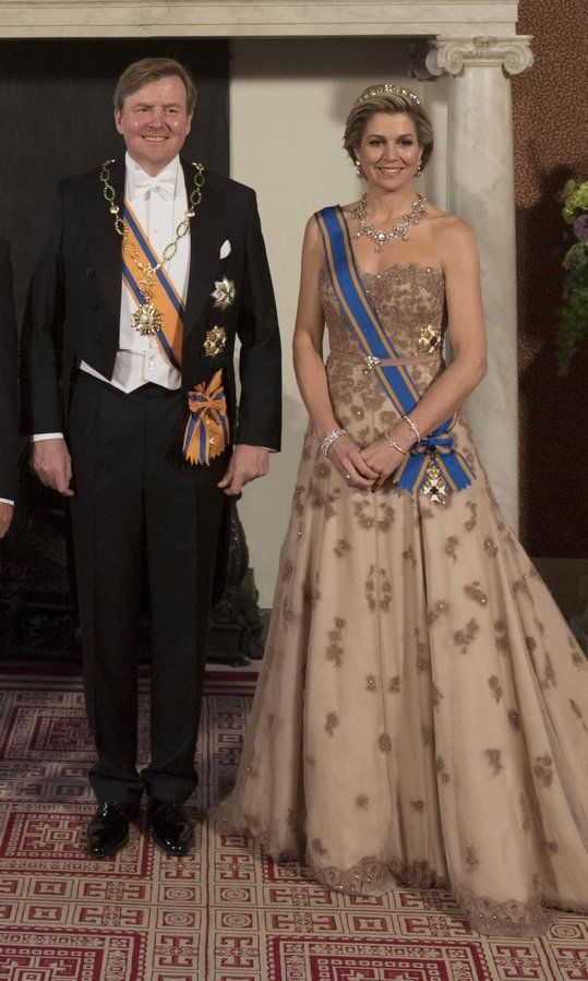 Queen Maxima of the Netherlands dazzles in heirloom diamonds for state dinner