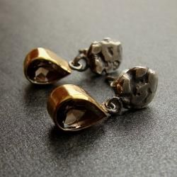 srebro,kolczyki,kwarc dymny - Kolczyki - Biżuteria