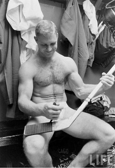 mikestand:    Canadian hockey player Bobby Hull in the locker room.  1960's.     Photographed for LIFE Magazine.