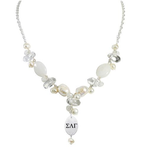 Sigma Kappa Symbol V Style Necklace in Natural Stones and Sterling Silver