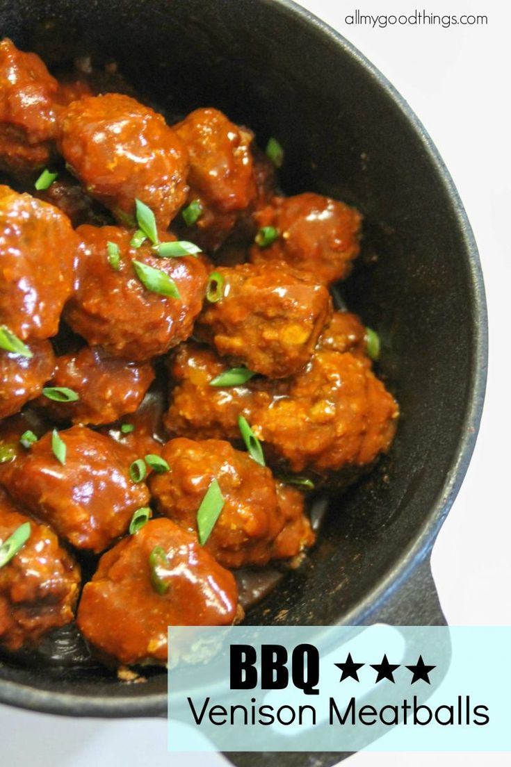 BBQ Venison Meatballs Kids and adults will love these meatballs! You will never know that they are made with venison.  Perfect appetizer in a slow cooker or simmer on the stove for a main dish.