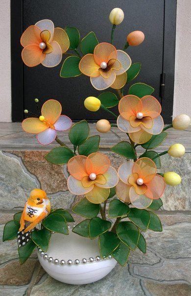Цветы из капрона!!!Светильники!!! Подарки !!!