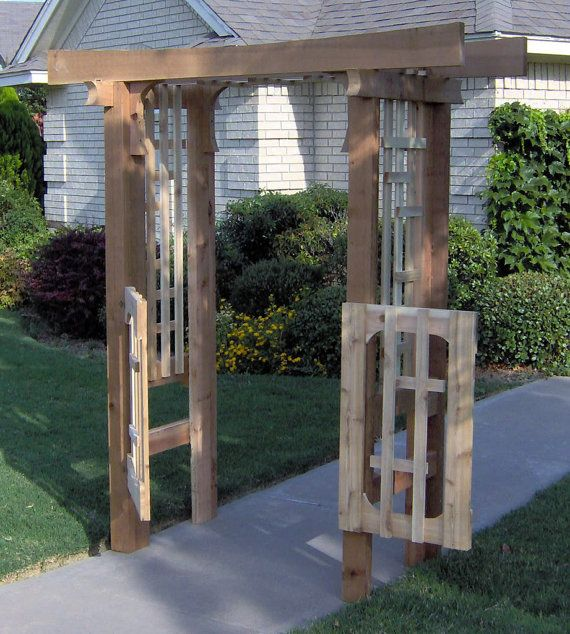 Brand New Deluxe Japanese Style Cedar Garden Arbor With Gate