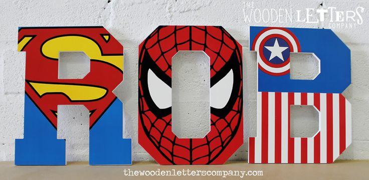 Superhero Letters Superhero painted wooden wall