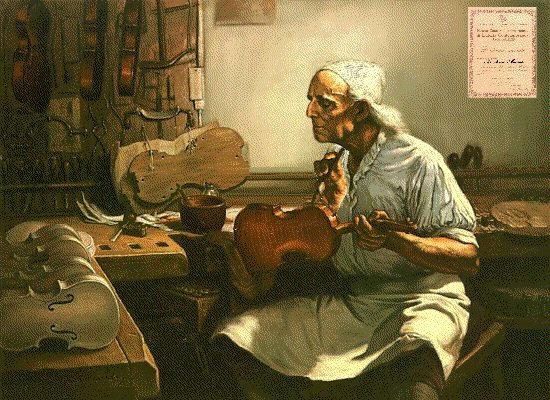 Stradivari, il liutaio più famoso, accoglie da buon cremonese i turisti incuriositi dal segreto delle sue vernici