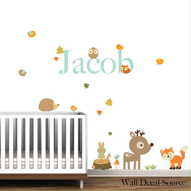 Nursery wall decals woodland animals with name stump fox dearbirds