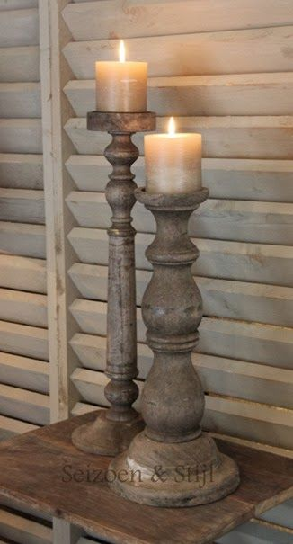 Wooden candle holders with darker taupe candles - would like these in white.