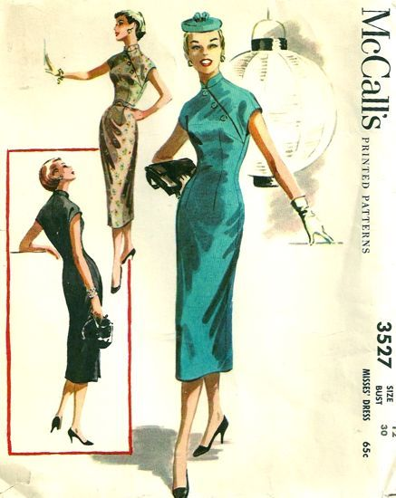 """""""The cheongsam is a fitted (body-hugging) Chinese gown, also known as a qipao (or """"Mandarin gown"""" in English), often made of silk with frog-button closures and high collars. These Chinese inspired dresses were briefly popular in the West during the 1950s and found their way onto several patterns during this time. Also in the 1960s film, The World of Suzie Wong, actress Nancy Kwan wore a cheongsam, causing it to again be fashionable in western culture. """""""