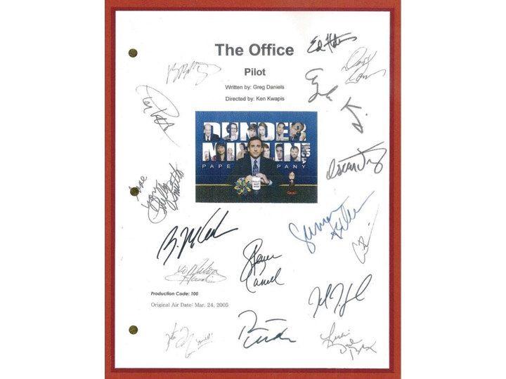 The Office Pilot TV Script Screenplay Autographed: Steve Carell, John Krasinski, Jenna Fischer, Rainn Wilson, B.J. Novack, Ed Helms by hollywoodfinds on Etsy https://www.etsy.com/listing/215822388/the-office-pilot-tv-script-screenplay