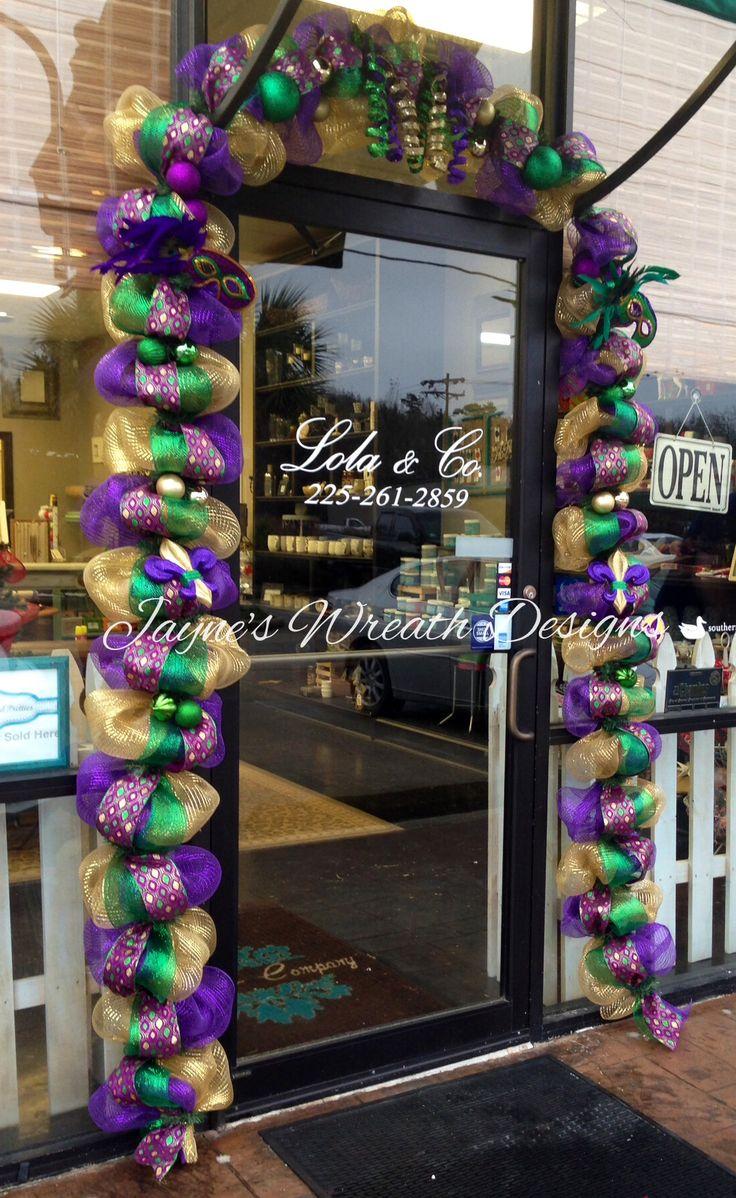 Mardi Gras Garland with deco mesh, diamond ribbon ...