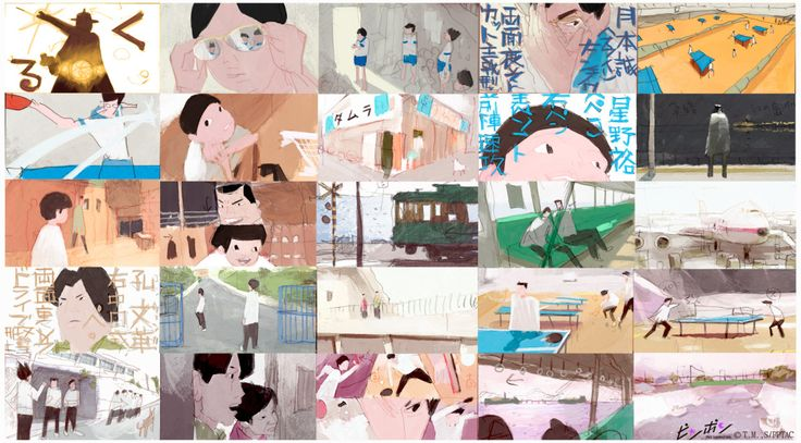 """aymrc: """" I have been interviewed for Cartoon Brew so I took this chance to share some Ping Pong backgrounds and the color-script of the first episode. I hope you will enjoy them. You can also follow..."""