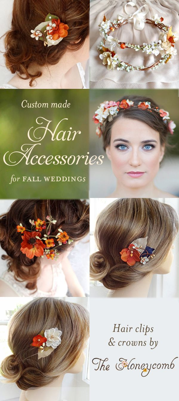 Shop online: www.thehoneycombshop.com -- fall wedding flower crowns and hair clips and hair combs. Colors in burnt orange, tan, ivory, etc. Beautiful for rustic autumn weddings.