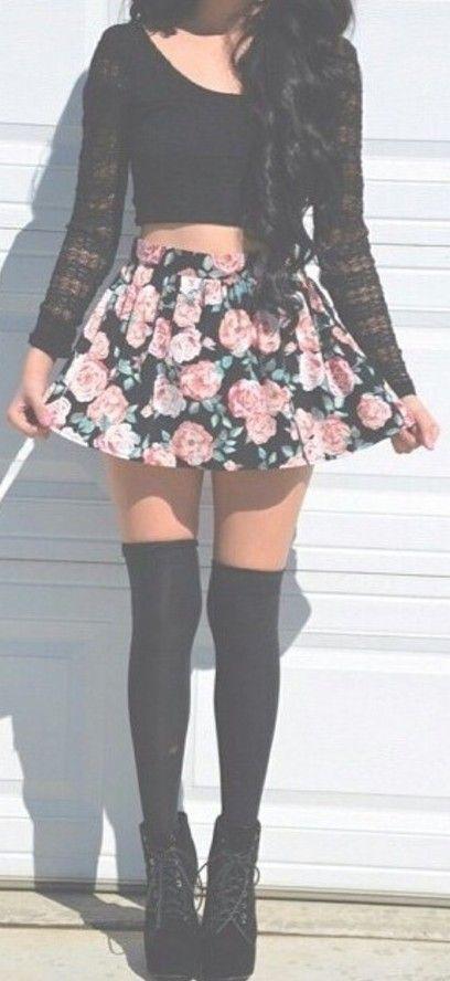 Floral print skater skirt: charlotte russe #dress #buyable