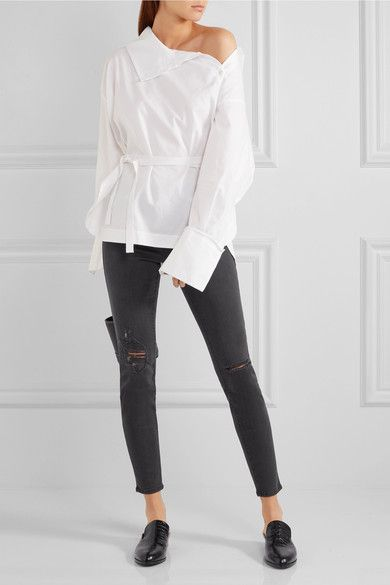 FRAME - Le High Skinny Distressed Jeans - Gray