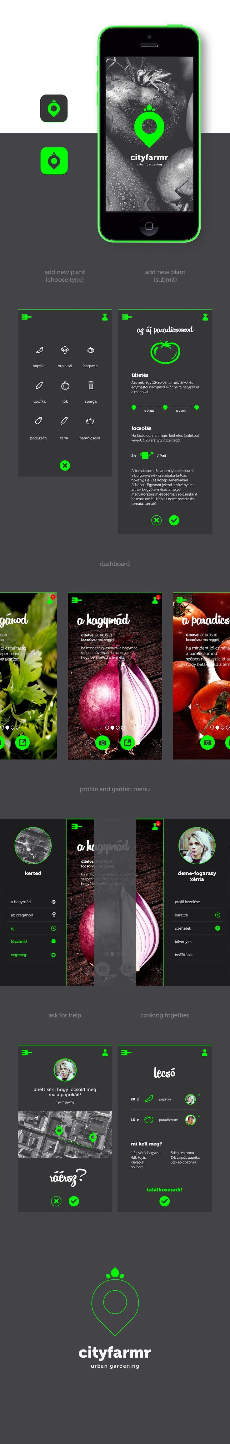 Cityfarmr - urban gardening app branding and UI concept