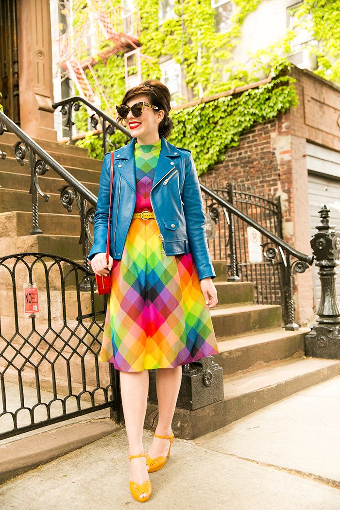"Girl Gang! - Keiko Lynn in a rainbow vintage dress, Coach blue leather motorcycle jacket, b.a.i.t. footwear heels from ModCloth, Kate Spade heart crossbody bag, and ""Girl Gang"" headband from ban.do"