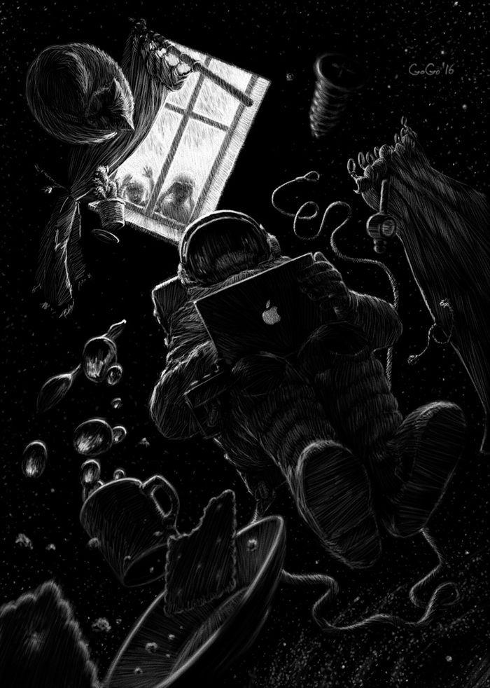 Посмотреть иллюстрацию Георгий Савин - Притяжение космоса. Иллюстрация к ситуации странного воплощения детской мечты. Стать космонавтом.