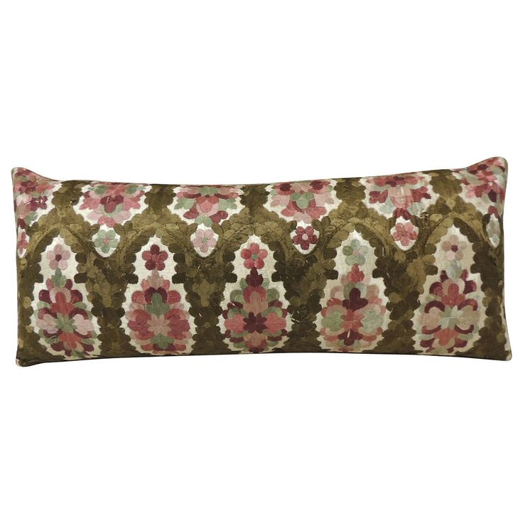 Moroccan Embroidery Silk Bolster Pillow | From a unique collection of antique and modern pillows and throws at https://www.1stdibs.com/furniture/more-furniture-collectibles/pillows-throws/