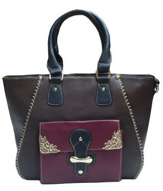 Large size V- bag with a front pocket decorated with silver ornaments._fashion woman accessories.