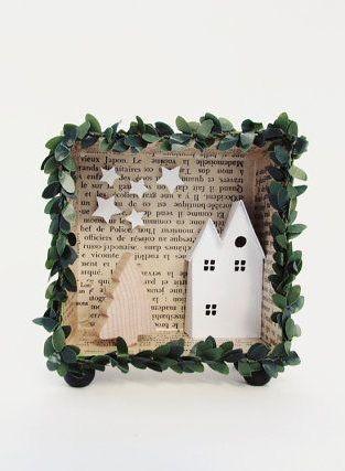 3D shadow box frame A christmas harvest house with light