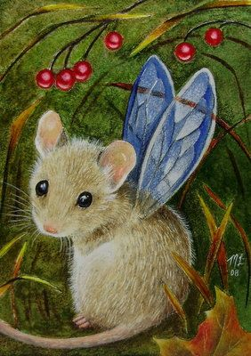 Fairy Mouse Art Melody Lea Lamb ACEO OE Giclee by MelodyLeaLamb, @ etsy.