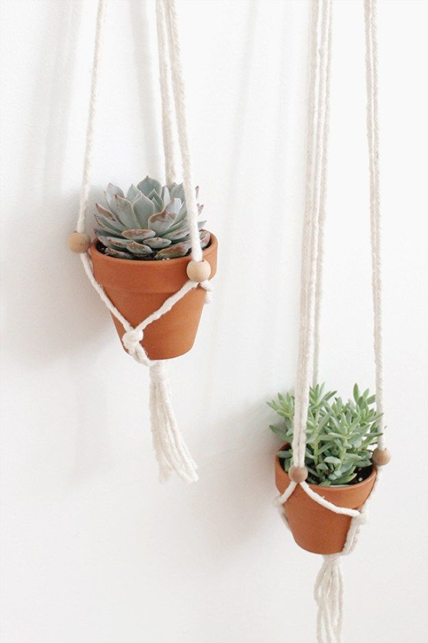Succulents Crafts and DIY Projects - DIY Macrame Plant Hangers - How To Make Fun, Beautiful and Cool Succulent Cactus Wedding Favors, Centerpieces, Mason Jar Ideas, Flower Pots and Decor http://diyjoy.com/diy-ideas-succulents-crafts