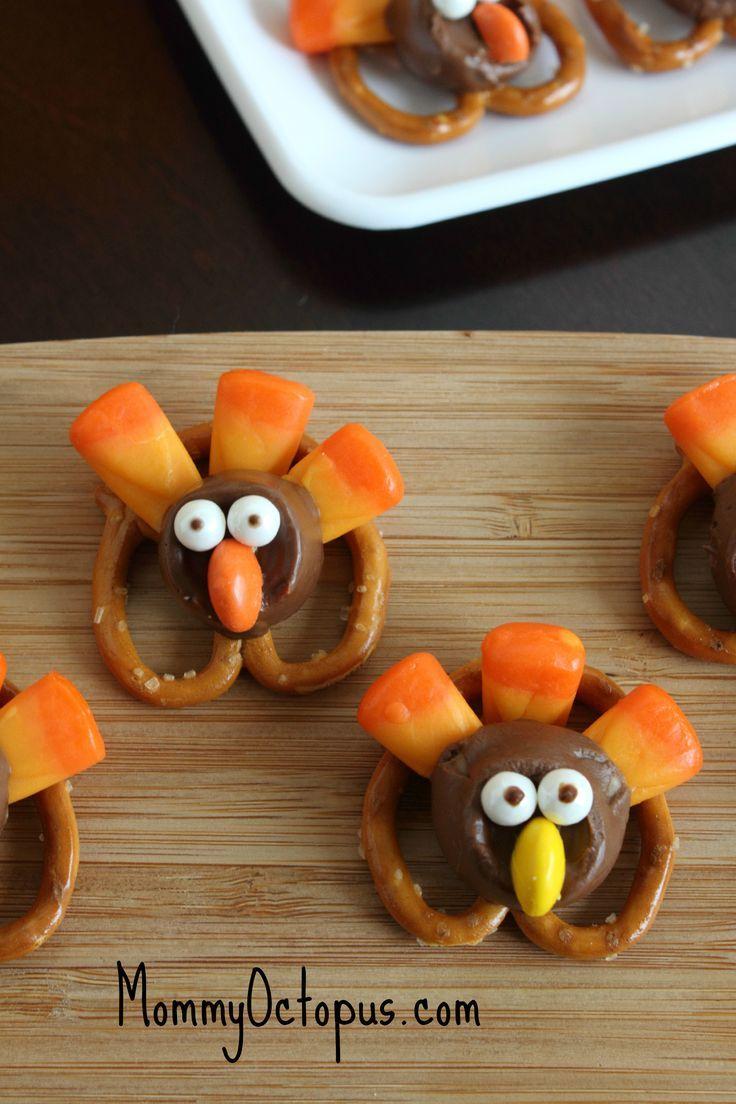 Thanksgiving snack- candy and pretzel turkeys