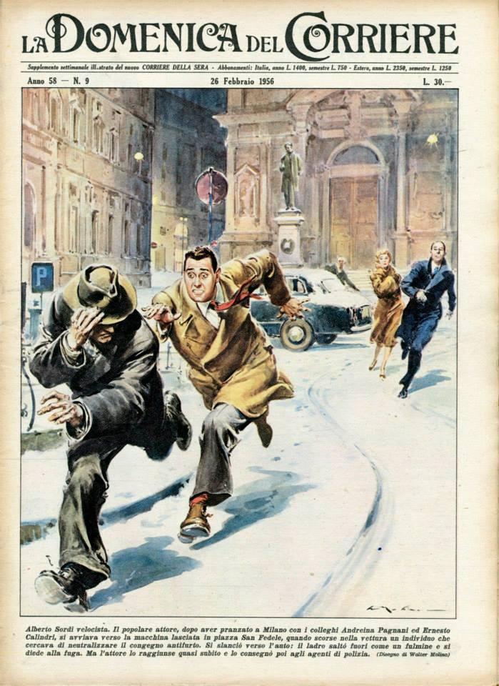 1956. Alberto Sordi velocista. Il popolare attore, dopo aver pranzato a Milano con i colleghi Andreina Pagnani ed Ernesto Calindri, si avviava verso la macchina lasciata in piazza San Fedele, quando scorse nella vettura un individuo che cercava di neutralizzare il congegno antifurto. Si slanciò verso l'auto: il ladro saltò fuori come un fulmine e si diede alla fuga. Ma l'attore lo raggiunse quasi subito e lo consegnò poi agli agenti di polizia. (illustrazione di Walter Molino)
