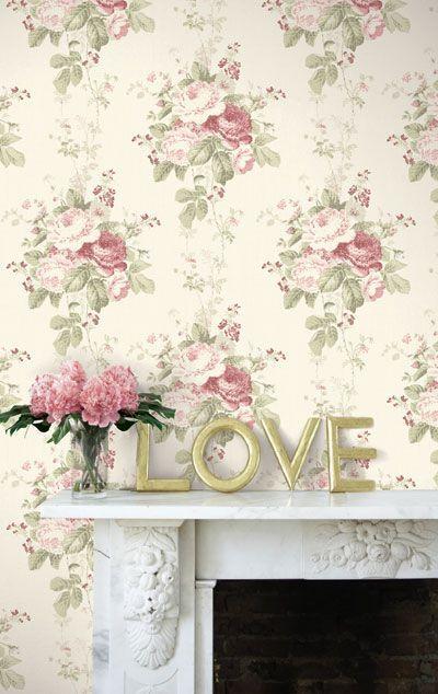 Vintage Cottage Snygga mönstrade tapeter med småblommigt, randigt, rutigt samt romantiska rosor.