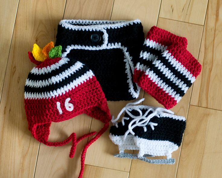 BABY HOCKEY OUTFIT Chicago Blackhawks pacifier not included, Hockey Baby Crochet, Baby Knit Hockey Hat, Hockey Knit Skates, Hockey Baby Gift by Grandmabilt on Etsy