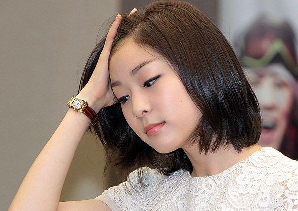 Yuna Kim, soft peach eyeshadow, black eyeliner