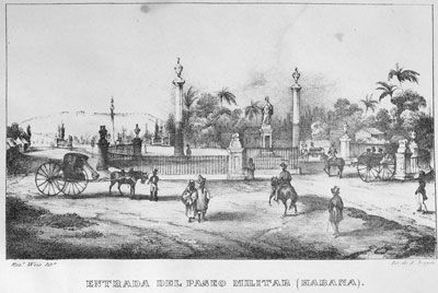 """José Maria de Andueza, Isla de Cuba; pintoresca . . . . impresiones de dos épocas (Madrid, 1841), unnumbered plate. (Copy in Special Collections Department, University of Virginia Library)  Comments Caption, """"Entrada del Paseo Militar (Habana)"""". Urban scene, showing among others, liveried figures of black coachman standing by a carriage (left), and another leading another carriage (right); a black man and woman (center foreground), wearing working clothes or rural dress. This illustration…"""