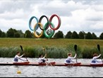 The Olympic Flame takes to water at the London 2012 Olympic Games venue, Eton Dorney Lake