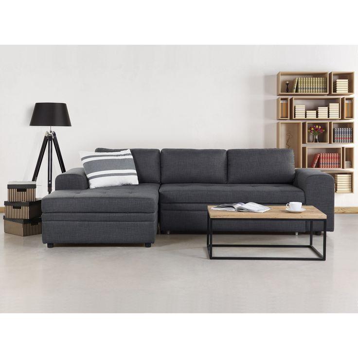 Beliani Kiruna Upholstered Sleeper Sectional Sofa with Storage