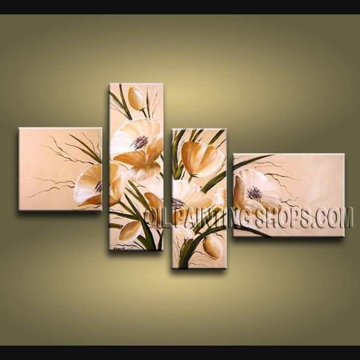 Huge Contemporary Wall Art Artist Oil Painting Stretched Ready To Hang Tulip Flower. This 4 panels canvas wall art is hand painted by Bo Yi Art Studio, instock - $138. To see more, visit OilPaintingShops.com