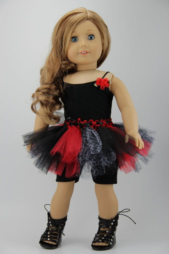 "American Girl doll clothes - 3 piece tutu outfit (fits 18"" doll) (450blk)"